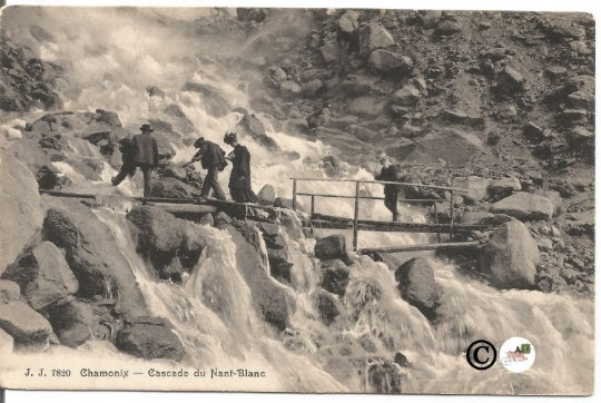Vintage Postcard, Nant Blanc Waterfall Chamonix France People in Edwardian