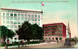 Vtg Postcard First National & Central Banks 14th and Broadway Oakland CA