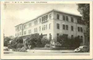 Santa Ana, California Postcard YMCA Building / Street View Boarding House 1948