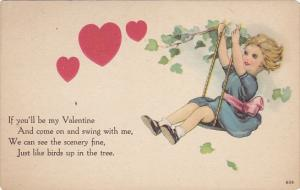 Valentine's Day Young Girls On Swing With Red Hearts