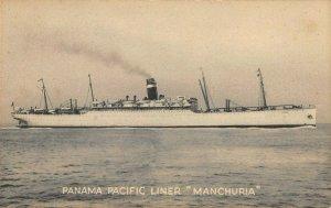 LP61   Ship Vintage Postcard Panama Pacific Line S. S.  Manchuria Steamer
