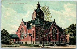 Lebanon, Indiana Postcard Christian Church Building / Street View 1908 Cancel