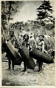 indonesia, BORNEO KALIMANTAN, Dayak Warriors, Shield Spear (1930s) RPPC Postcard