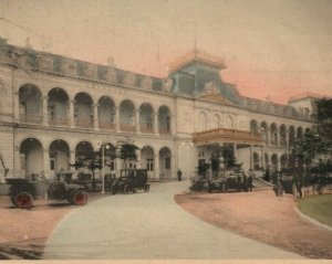 1900s - 1910s Imperial Hotel Tokyo Japan Tinted Colored Cars Wagons Postcard
