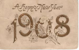 US    PC1157 HAPPY NEW YEAR 1908 (POSTMARKED 1907)