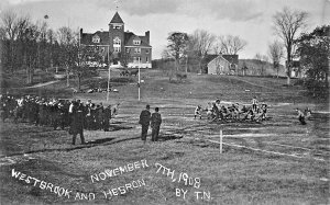 Westbrook and Hebron ME Football Game 11-7-1908 Real Photo by T.N. Postcard