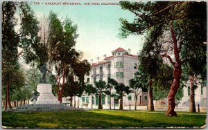 San Jose California Postcard McKinley Monument Park Scene Mitchell 1907 Cancel