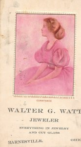 G17/ Barnesville Belmont Co Ohio Postcard c1910 Walter Watt Jeweler 26