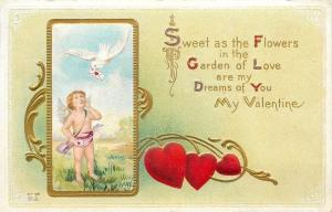 Valentine~White Dove Brings Cupid Note~Gold Leaf Art Nouveau~Hearts~Emboss~V-56
