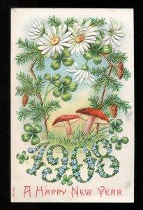 dc21 - NEW YEAR 1908 Embossed. Mushrooms. Canada Postmarks Walton & Winthrop