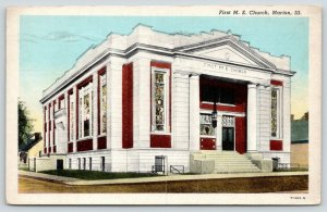 Marion Illinois~First ME Church~Beautiful Stained Glass Windows~1945 Postcard