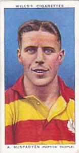 Wills Vintage Cigarette Card Association Footballers No 32 A McSpadyen Partic...