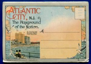 Atlantic City New Jersey nj postcard folder St Charles Breakers Hotel Steel Pier