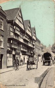 Rochester Old Houses Street Cyclist Horse Carriage Postcard