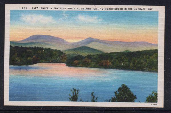 North Carolina colour PC Lake Lanier Blue Ridge Mountains.  unused
