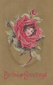 Birthday Greetings, Girls face in a red rose, Gold background, 00-10s