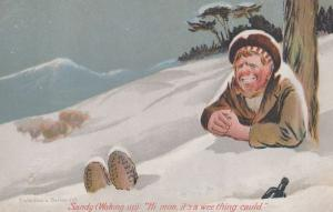 Wee Thing Called Alcohol Beer Bottle Christmas Snow Scottish Old Comic Postcard