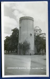 Columbus Texas tx Confederate Memorial Hall real photo postcard RPPC