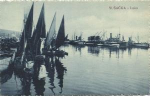 croatia, FIUME RIJEKA, SUŠAČKA LUKA, Harbour Scene, Boats (1930s)