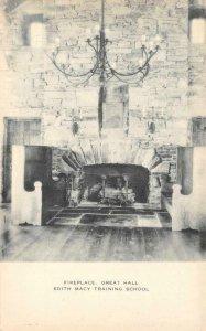 Fireplace EDITH MACY TRAINING SCHOOL Girl Scouts 1953 Vintage Postcard