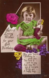 Happy 4th Birthday Girl Playing With Toy Doll Real Photo Old Greetings Postcard