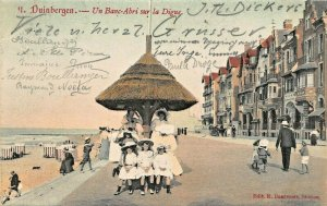 DUINBERGEN WEST FLANDERS BELGIUM~UN BANC-ABRI sur la DIGUE~1906 PHOTO POSTCARD