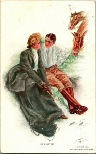 Vtg Tarjeta Postal 1912 Artista Firmado Harrison Fisher En Trébol
