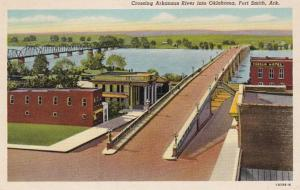 Arkansas Fort Smith Crossing Arkansas River Into Oklahoma Curteich