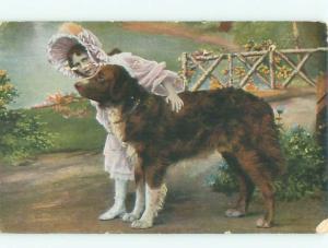 Pre-Linen GIRL PETTING BIG DOG AC1139