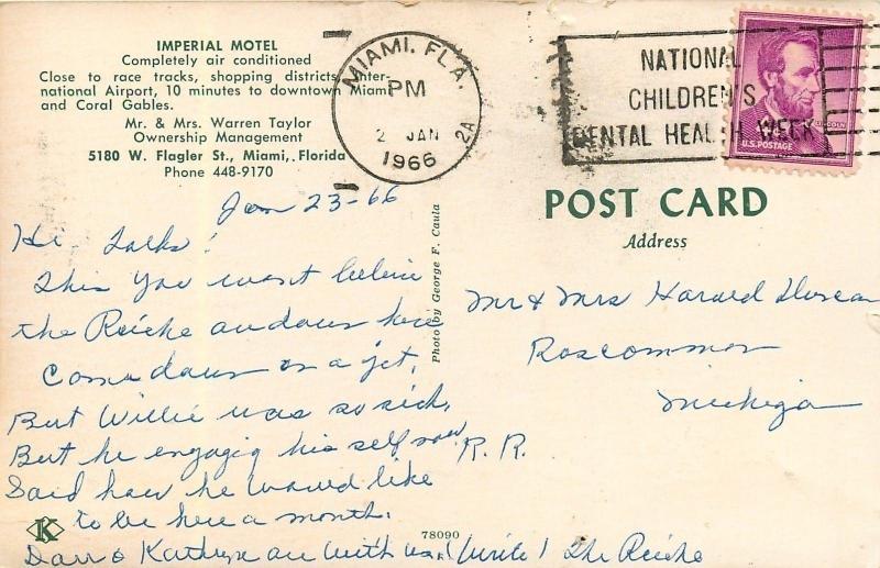 Miami Florida~Imperial Motel~1966 Postcard
