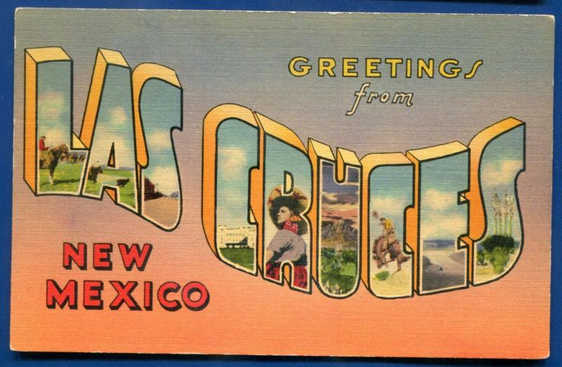 Greeting Las Cruces New Mexico nm large letters letter linen postcard #2