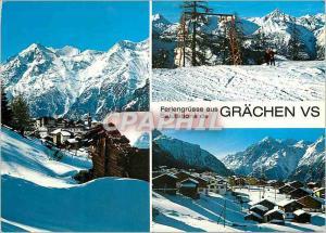 Postcard Modern Grachen Wallis Schweiz