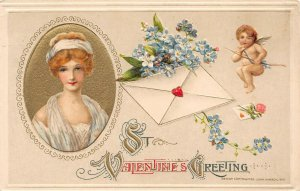 LP06  Valentine's Day Postcard Winsch Publisher Schmucker woman letter cherub