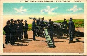 Vtg Lino Cartolina Camp Callan Selectees Preparazione Per Pistola Trapano Ca