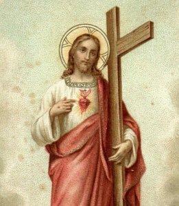 1890s Religious Jesus Sacred Heart Wheeling W. VA P222