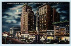 AUGUSTA, Georgia GA ~ CONFEDERATE MONUMENT Street Scene at Night 1940s  Postcard