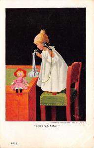 Bernhardt Wall~Dainty Little Girl on Candlestick Telephone~Rag Doll~Hello Mama!