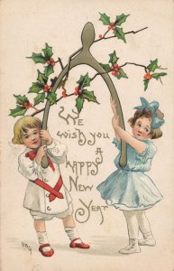 New Years Day Greetings - Children with Wishbone - a/s HBG - DB