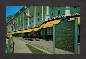 MI Grand Hotel Mackinac Island Michigan Historic Marker Sign Horse Carriage PC