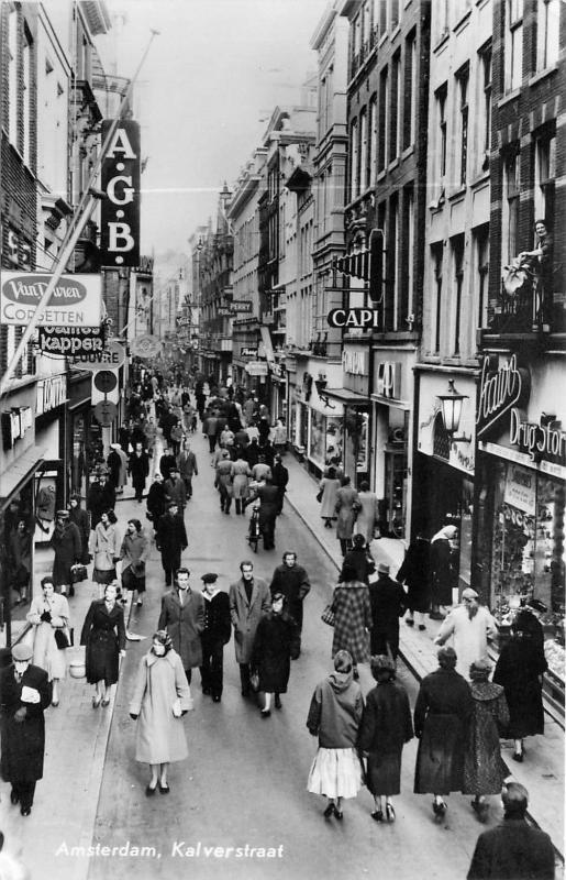 Amsterdam Netherlands Kalverstraat real Photo Postcard Busy Street. Signs