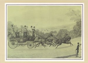 London to Liverpool 1838 Royal Mail Coach Transport Postcard