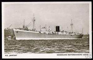 Royal Dutch Lloyd, M.S. Bantam (1940s) RPPC