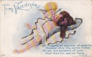 Valentine's Day Cupid Whispering In Woman's Ear 1907
