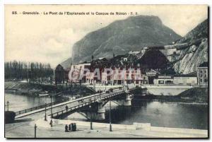 Old Postcard Grenoble Esplanade Bridge and neron Helmet