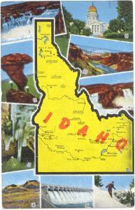 Linen Map Card of Idaho ID