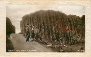 Ulster Ireland: Giants Loom, Giants Causeway~Sepia RPPC c1910 Art Nouveau Border