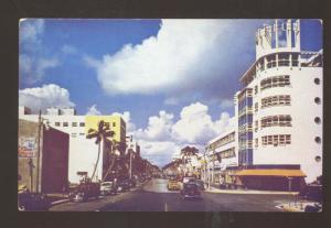 MIAMI FLORIDA DOWNTOWN MAIN STREET SCENE 1940's CARS VINTAGE POSTCARD