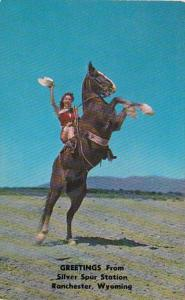 Wyoming Ranchester Greetings From Silver Spur Station Ride 'Em Cowgirl