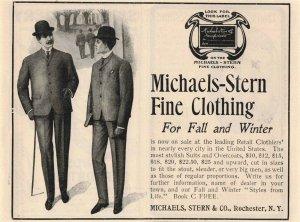 1903 Michaels-Stern Fine Clothing Original Print Ad 2T1-47