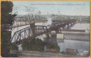 Dubuque, Iowa-Dub Railroad and Wagon Bridges crossing the Mississippi River-1910